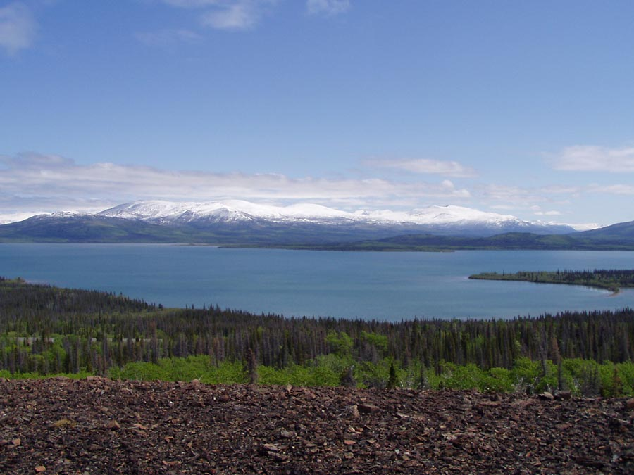 Overlooking Dezadeash Lake from Rock Glacier
