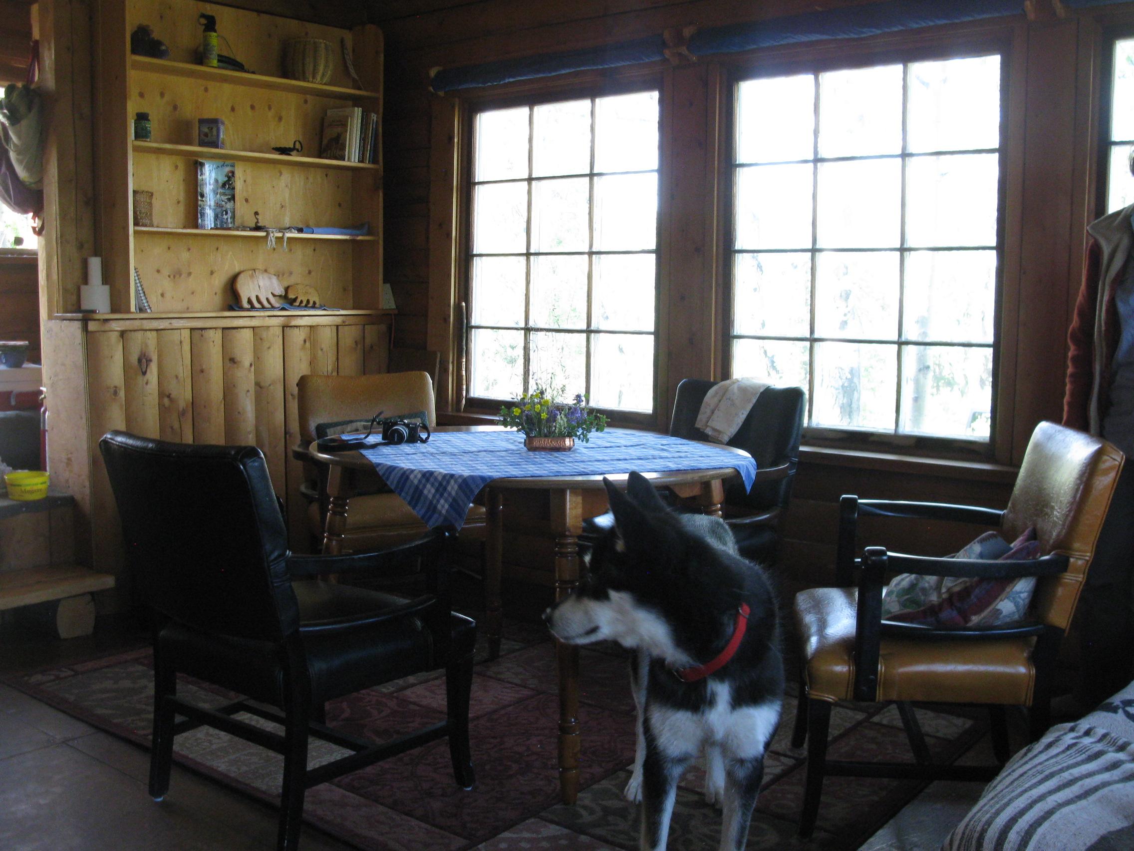 cabin rental living area at Kluane national Park